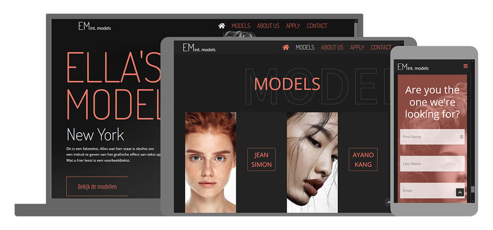 Ella's Models - U-Page One Website