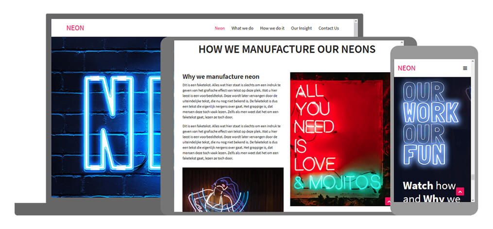 Neon - U-Page One Website