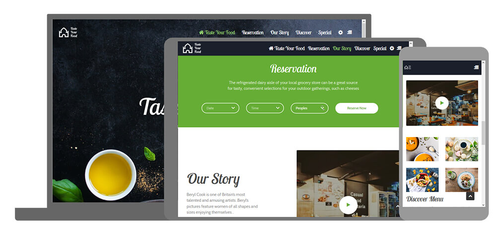 Taste Your Food - U-Page One Website